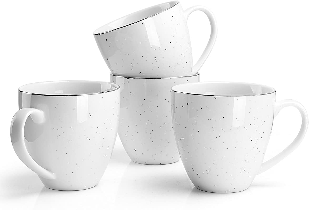 Sweese Mug Set For Coffee Tea Cocoa And Mulled Drinks 11 Ounce Set Of 4 Gold Trim Black Speckled