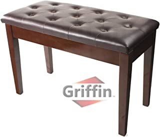 Griffin Double Brown Leather Piano Bench – Vintage Design, Heavy-Duty & Ergonomic Keyboard Stool, Comfortable Double Duet Seat & Convenient Hidden Storage Space, Perfect for Home & Professional Use