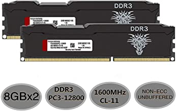 Yongxinsheng DDR3 8GBx2 16GB Kit 1600MHz Desktop Computer UDIMM RAM (PC3-12800) CL11 240Pin 1.5V Non-ECC Unbuffered Memory Stick Upgrade Module