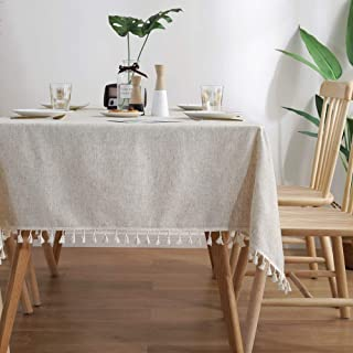 Lahome Solid Color Tassel Tablecloth - Cotton Linen Round Table Cover Kitchen Dining Room Restaurant Party Decoration (Round - 60