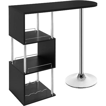 WOLTU BT22sz Table de Bar bistrot Table Haute de Cuisine comptoir de Bar en MDF et métal avec 3 tablettes et Porte-Bouteilles, 113x40x105cm Noir