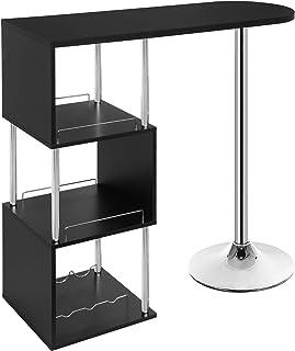WOLTU BT22sz Table de Bar bistrot Table Haute de Cuisine comptoir de Bar en MDF et métal avec 3 tablettes et Porte-Bouteil...