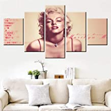 House Decoration Living Room Marilyn Monroe Pictures Blonde Girl Paintings Sexy Red Lip Wall Art 5 Piece Canvas Paintings Premium Quality Artwork Framed Ready to Hang Posters and Prints(60''Wx32''H)