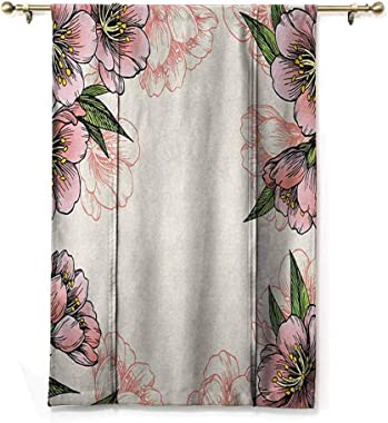 Peach Roman Curtain Bathroom Hand Drawn Botanical Pattern Spring and Summer Flowers Blooming Nature Theme W42 x L72 Inch Coral Green Yellow