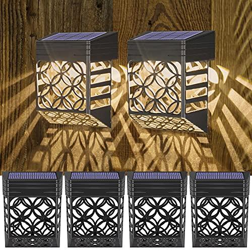 Solarleuchten für Außen - [6 Stück] Solar Wandleuchte Aussen, Wetterfeste Solar zaun beleuchtung, Solar-Zaunleuchten für Terrasse Hof und Einfahrt, Zaun, Terrasse, Haustür, Treppe, Landschaft