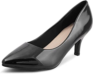 tresmode Womens Black Kitten Heel Formal Pumps
