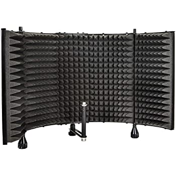 """Monoprice Microphone Isolation Shield - Black - Foldable With 3/8"""" Mic Threaded Mount, High Density Absorbing Foam Front & Vented Metal Back Plate - Stage Right"""