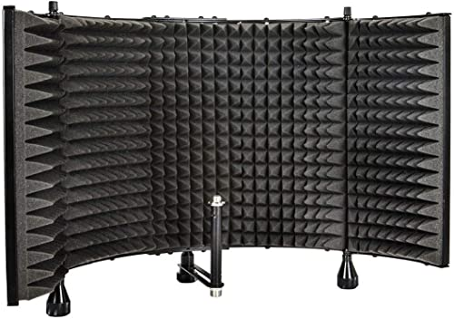 Monoprice Microphone Isolation Shield - Black - Foldable with 3/8in Mic Threaded Mount, High Density Absorbing Foam F...