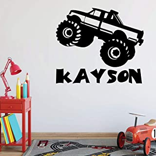 Monster Truck Wall Decal | Personalized Vinyl Decor for Boy's Bedroom | Peel & Stick Decoration Playroom or Children's Room