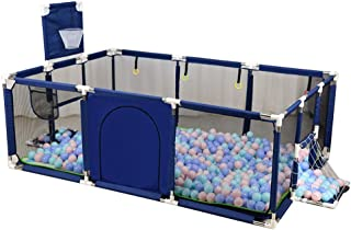 YEHL Playpen Portable Baby Basketball Hoop Included  Security Portable Playard with Crawling Mat for Toddler  amp  Child  Blue Red  Color Blue