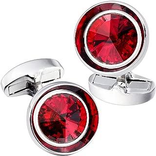 Kemstone Boutons de manchette rouge en Plaqu/é argent et Cristal pour Homme