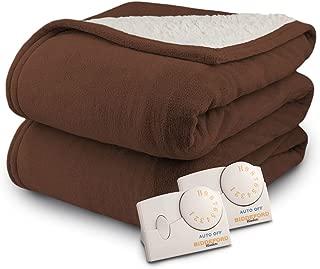 Biddeford 2063-9032138-711 MicroPlush Sherpa Electric Heated Blanket Queen Chocolate