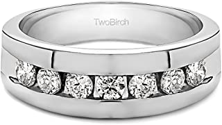 TwoBirch Sterling Silver Channel Set Men's Ring with Open End Design With Brilliant Moissanite(0.25Ct.)