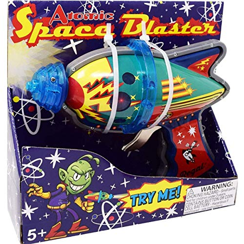 Regal Games Tin Atomic Space Blaster Toys with Revving Gears and Cosmic Light Up Effect (2 Pack)