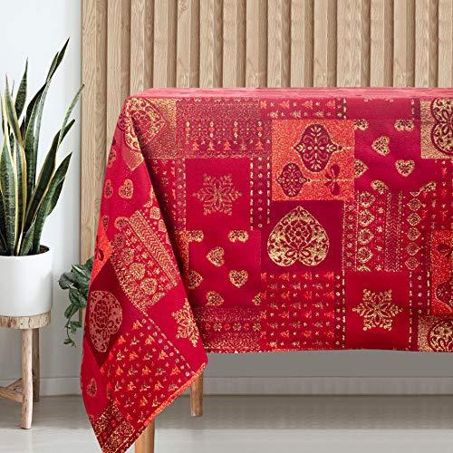 VISTE TU HOGAR Tovaglia con Filo d'Oro, 140 x 250 CM, Speciale per la Decorazione Domestica con Design a Cuori, Ideale per Cene di Famiglia, Compleanni e Altre Date Speciali, Colore Rosso.