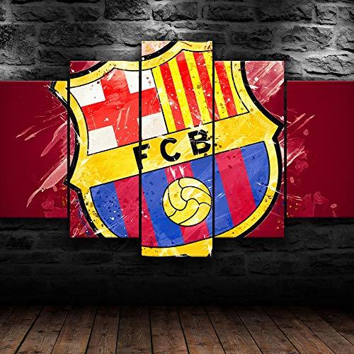 AWER 5 Piezas Material Tejido no Tejido FC Barcelona FCB Fútbol Impresión Artística Imagen Gráfica Decoracion de Pared Wall Art Decoración del Hogar Impresiones HD Póster