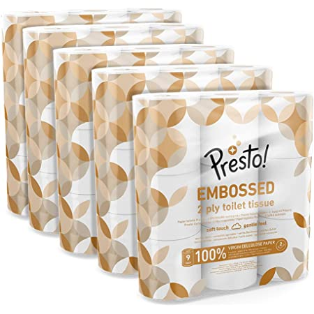 Amazon Brand - Presto! 2-Ply Embossed Toilet Tissues Rolls, 45 each