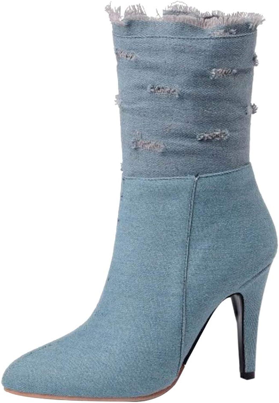 KemeKiss Women Pointed Toe Dress Boots Denim