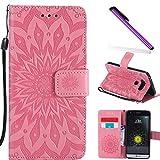 COTDINFOR LG G5 Funda Flores Cierre Magnético Billetera con Tapa para Tarjetas de Cárcasa Elegante Retro Suave PU Cuero Caso Protectora Case para LG G5 Sunflower Pink KT