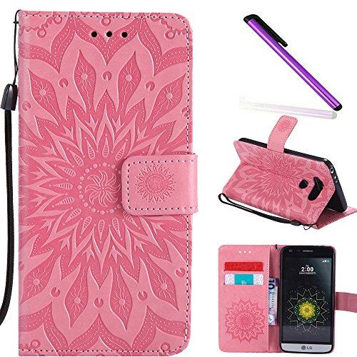 COTDINFOR LG G5 Custodia Cover Lucky Flowers Girl Elegante Portafoglio di Carte di Credito Magnetic Flip Custodia in Pelle Proteggi Cover per LG G5 Sunflower Pink KT