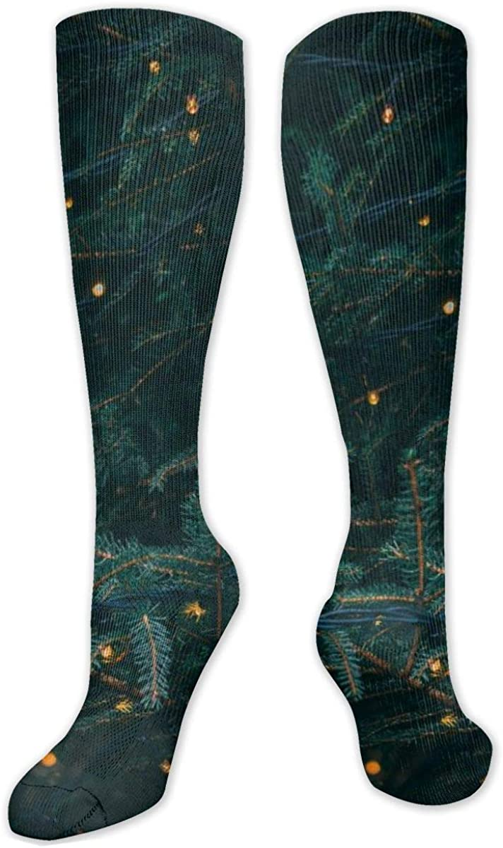 Green Pine Tree Decor Knee High Socks Leg Warmer Dresses Long Boot Stockings For Womens Cosplay Daily Wear