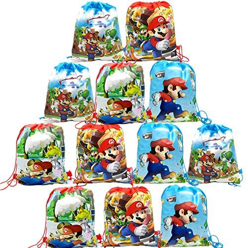 WENTS Mario Borse per Bambini Borse Sacca 12 PCS, Mario Zaino con Coulisse Sacchettini del per Bambini e Adulti Festa di Compleanno Bambini bomboniare Borsa Sacchetto Festa