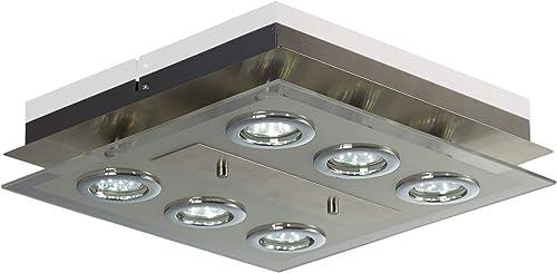 B.K.Licht plafonnier moderne, spots plafond LED, 6 ampoules LED GU10 3W fournies, métal et verre satiné, luminaire éc...