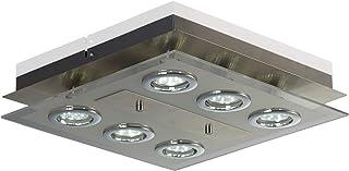 B.K.Licht plafonnier moderne, spots plafond LED, 6 ampoules LED GU10 3W fournies, métal et verre satiné, luminaire éclaira...