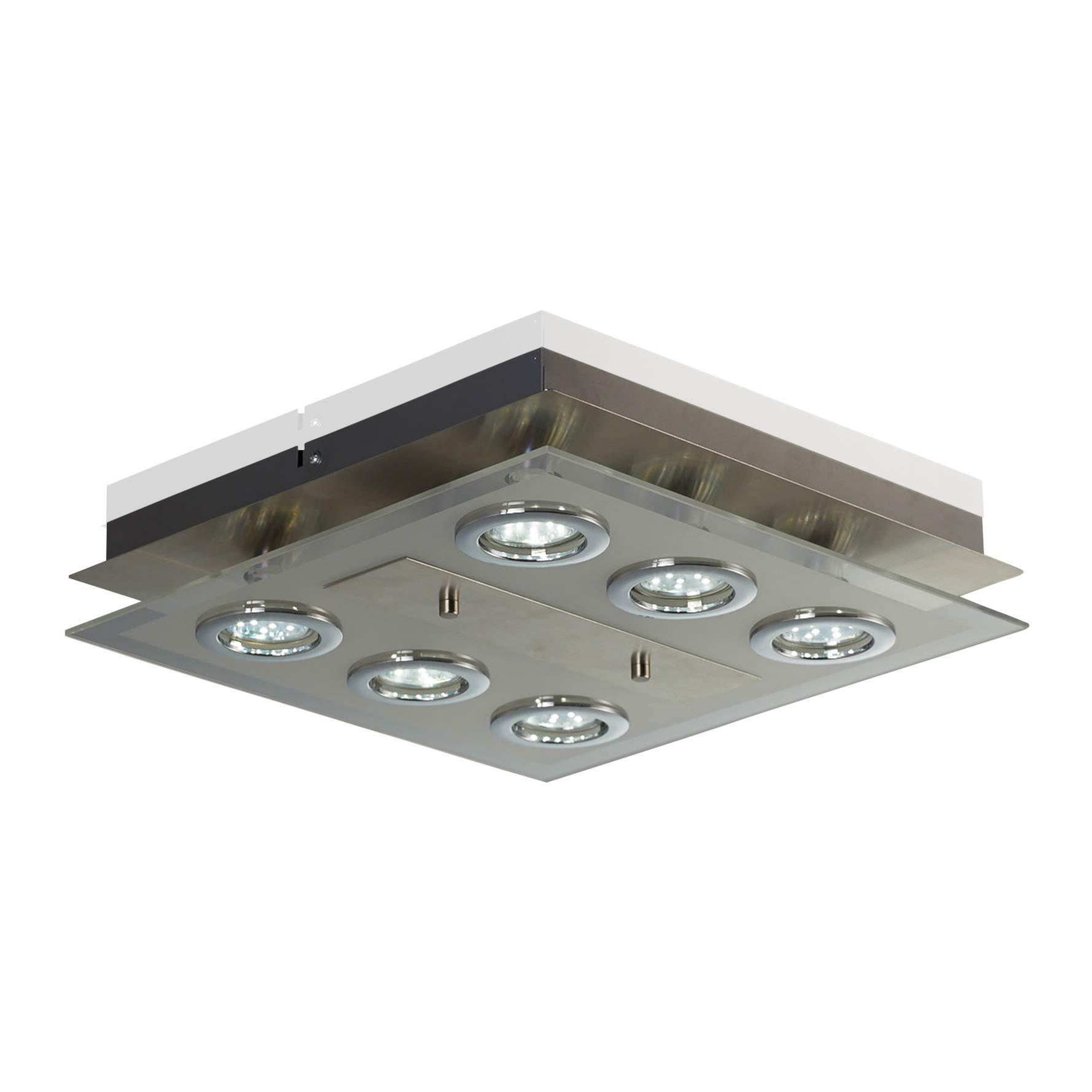 LED Deckenleuchte 6 x GU6 6W Lampe Deckenlampe LED Deckenleuchte Strahler  Spots Wohnzimmerlampe eckig matt Nickel
