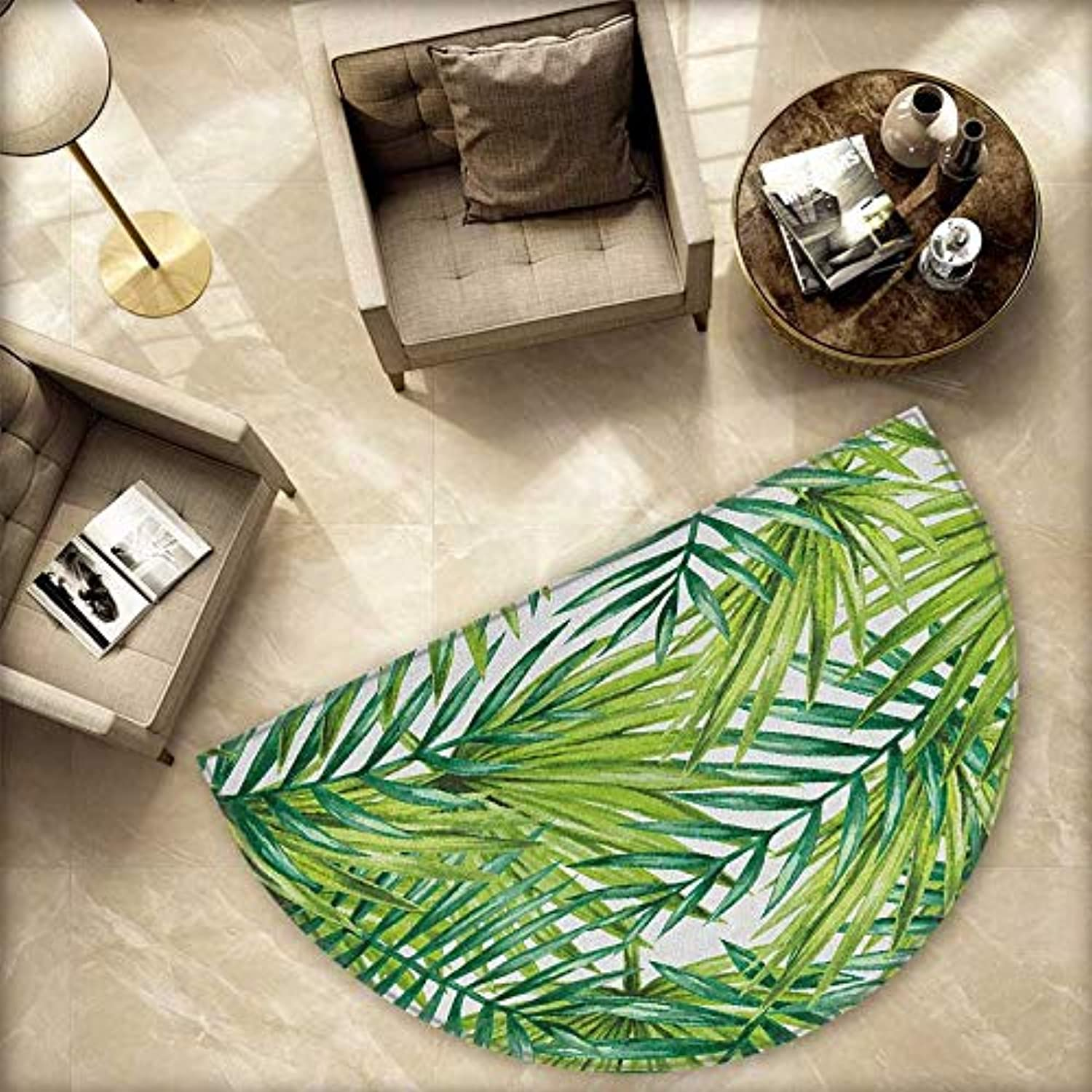Plant Semicircle Doormat Watercolor Tropical Palm Leaves colorful Illustration Natural Feelings Halfmoon doormats H 78.7  xD 118.1  Fern Green Lime Green