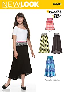 NEW LOOK 6338 Girl's Easy Skirts and Knit Skirts, Size: A (8-10-12-14-16)