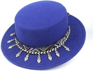 2019 Mens Womens Hats Unisex Men Women Flat Top Hat Autumn Pop Church Travel Hat Wool Flat Top Fedora Hat with Tassel Ribbon Church Hat for Gentleman Trilby Fascinator Hat