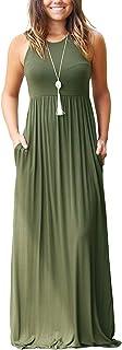SouqFone Women's Casual Maxi Dress Loose Plain Pleated Long Dresses with Pockets Empire Waist