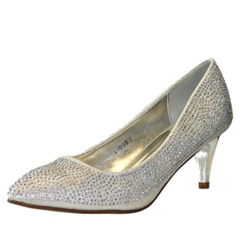 d02d8c4acd Rock on Styles Ladies Silver Wedding Bridal Prom Party Low Kitten Heel  Diamante Court Shoes Pumps