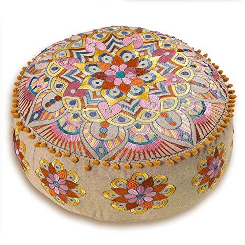 Mandala Life ART - Puf otomano de estilo bohemio, con relleno, de lujo, artesanal, para decoración de habitación, para meditación, yoga, cojín de suelo, taburete, de moda, bohemio