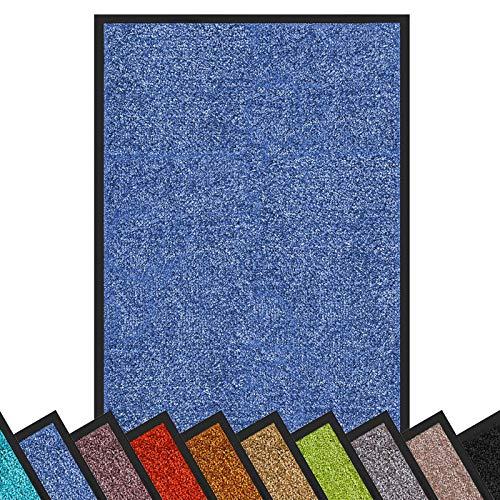 Schmutzfangmatte Rhine | schadstoffgeprüft | waschbare & extra leistungsstarke Fußmatte | Sauberlaufmatte mit Rutschfester Rückseite | Türmatte in vielen Größen & Farben (60x90 cm, Blau)