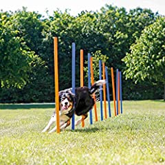 Kit includes 12 plastic poles, a reference cord of placing the poles, and a carrying bag Working with weave poles is a more advanced form of agility training Poles are 45 inches tall and can be arranged in a variety of layouts Each pole includes a st...