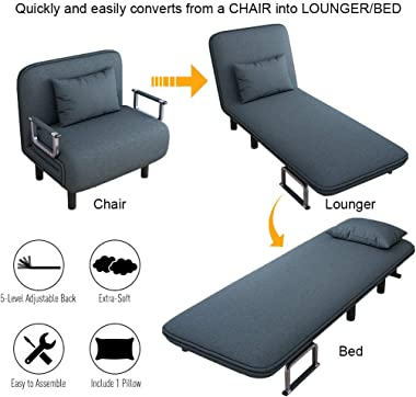 Folding Sofa Bed, Convertible Couch Bed Chair, Kid Sofa Full Padded Sleeper Bed Chair Lounger Souch Bed with Pillow 5 Positio