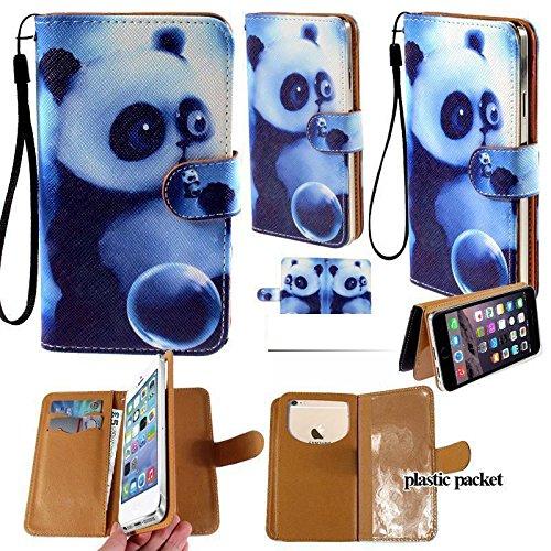 Universal PU Leder Geldbörse/Clutch/Tasche/Etui passend für Apple Samsung LG Motorola etc. Damen Cute Wristlet Gurt Flip Hülle Cute Panda–mittelgroß. Passend für die Modelle unten: