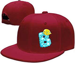 ZOENA Ocean Alphabet B Cartoon Cotton Hats Camping Sanpback Cap Hat For Outdoor Sports Black