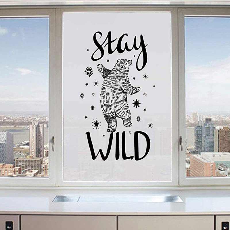 3D Decorative Privacy Window Films Dancing Bear In Hand Drawn Style With Cute Little Stars Stay Wild Inspirational Quote Decorative No Glue Self Static Cling Glass Film For Home Bedroom Bathroom Kitch