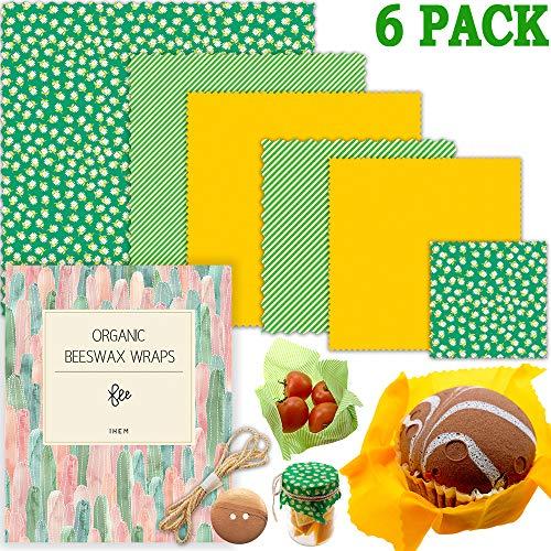 Bienenwachstücher 6er Set, Natural Bees Wrap Wachspapier , Kunststofffreie Lagerung von Käse, Obst, Gemüse und Brot, waschbare Schüssel-Abdeckungen
