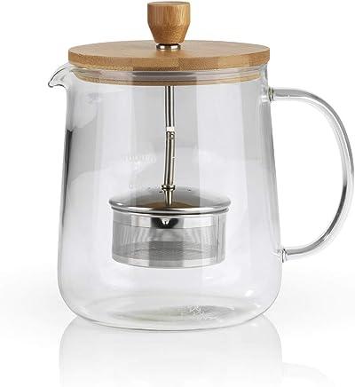 Beem TEEKANNE Glaskanne mit Teesieb - 1 l | Classic Selection | Hitzebeständiges Glas | Bambus | Abnehmbares Edelstahl-Sieb mit Hebefunktion | 8 Tassen preisvergleich bei geschirr-verleih.eu