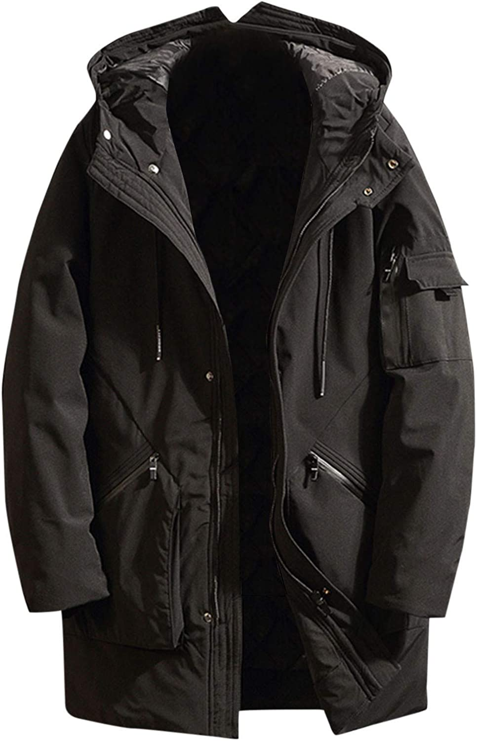 Winter Hoodies Coat for Men Big and Tall Outwears Mid Length Pure Color Thickened Cotton-Padded Trench Coats