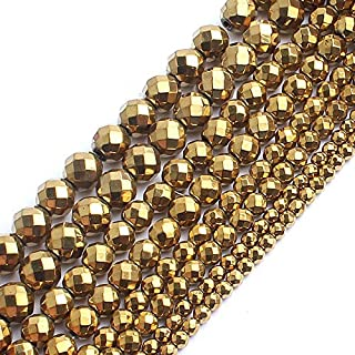 CHENTAOCS Natrual Faceted Gold Plated Hematite Stone Round Beads for Jewelry Making Bracelet Necklace 2/3/4/6/8/10mm 15inches DIY Jewelry (Item Diameter : 4mm 95pcs Beads)
