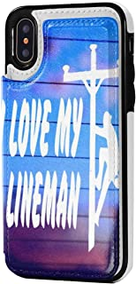I Love My Lineman iPhone XR Case Wallet Design Leather Case with 2 Card Holder Slots, Protective Cover 6.1 Inch
