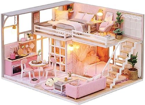 Nicohouse Poupée Maison Meubles Miniatura DIY Doll Maisons Miniature Maison De Poupée à La Main en Bois Jouets pour Enfants Adultes Cadeau D'Anniversaire 24  20  15cm