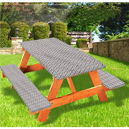 LEWIS FRANKLIN - Cortina de ducha abstracta de lujo para picnic, mantel ajustable con borde elástico árabe, 70 x 72 cm, juego de 3 piezas para mesa plegable