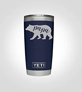 Yeti 20oz and 30oz Tumbler for Papa Bear, Great Gift for Dad, in Multiple Colors, Includes Custom Engraving, Stainless Steel with Vacuum Insulation, Twice As Resistant to Cold… (20 oz, Navy)
