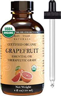 Organic Grapefruit Essential Oil (4 oz), USDA Certified by Mary Tylor Naturals, Therapeutic Grade for Stress Relief, Relax...